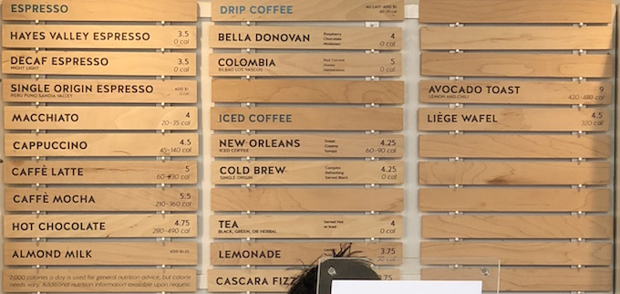 Blue Bottle Coffee Menu