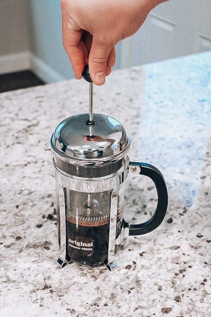 pressing coffee with french press