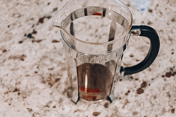 ground coffee in french press