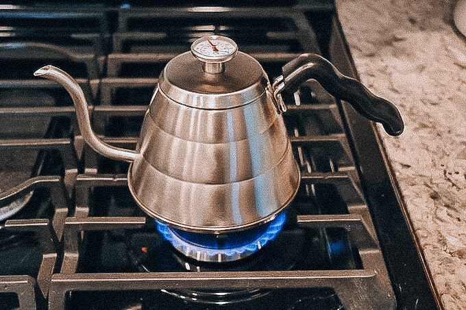 boiling water using coffee kettle