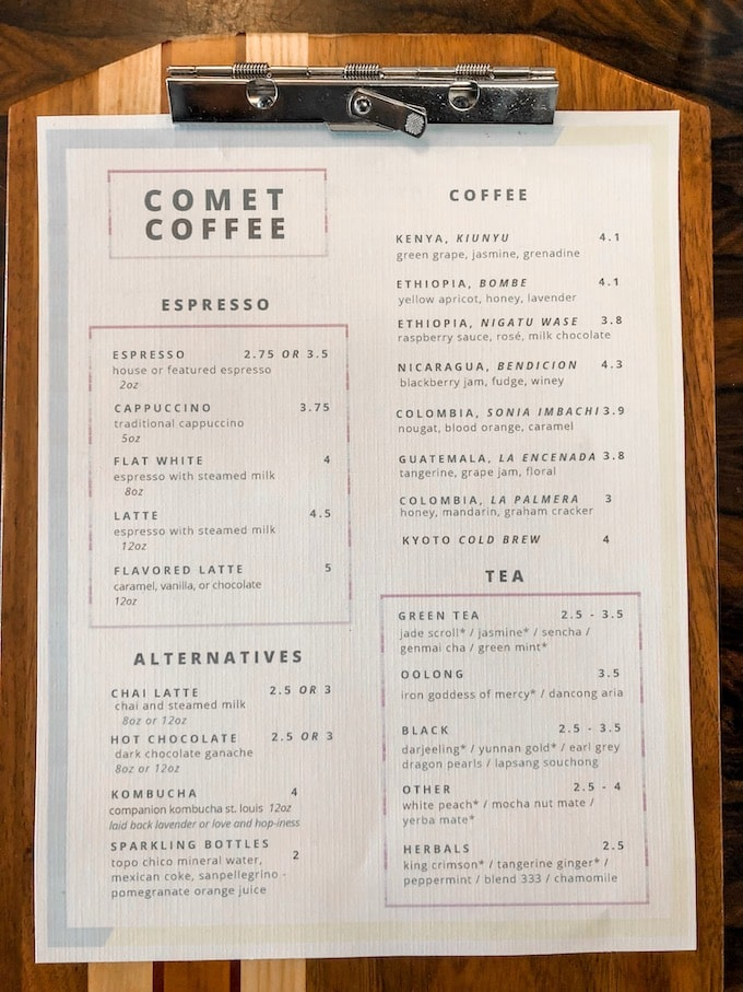 Comet Coffee Menu